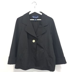 Susan Graver Large Jacket Black 3/4 Sleeves Soft